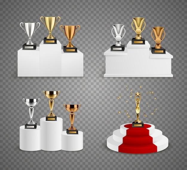 Conjunto de trofeos incluyendo copas y figurillas sobre pedestales.