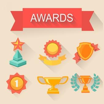 Conjunto de trofeos y premios. estilo plano