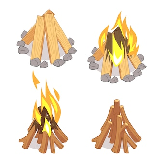 Conjunto de troncos de madera y fogata de dibujos animados