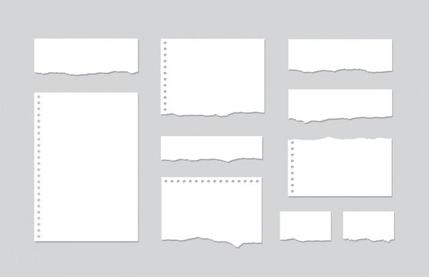 Conjunto de trozos de papel de cuaderno rayado blanco sobre gris
