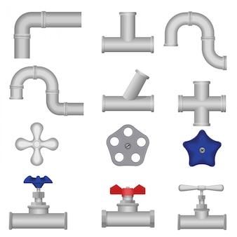 Conjunto de tuberías de agua de fontanería de construcción.