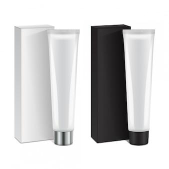 Conjunto de tubo de plástico con tapa y caja para medicamentos o cosméticos: crema, gel, cuidado de la piel, pasta de dientes. plantilla de embalaje