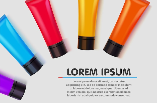 Conjunto de tubos de colores.