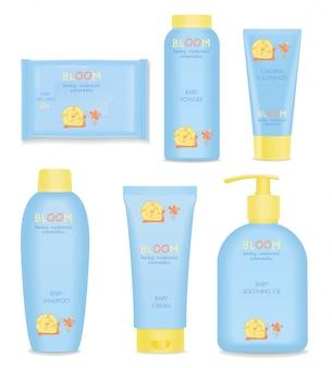 Conjunto de tubos cosméticos para bebés con niños.