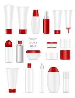 Conjunto de tubos cosméticos en blanco sobre blanco