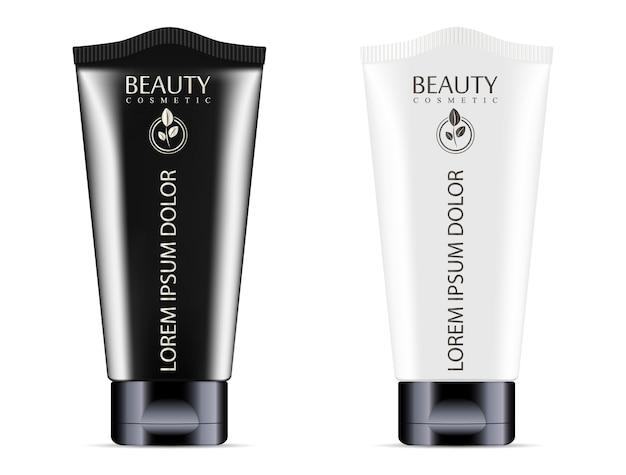 Conjunto de tubos cosméticos en crema o pomada blanco negro