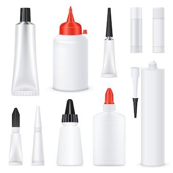 Conjunto de tubos de pegamento en blanco realista