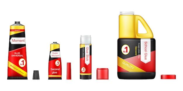 Conjunto de tubos de pegamento con tapas abiertas, gel adhesivo de momento universal para reparación