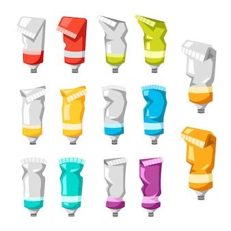 Conjunto de tubos de pintura de colores aislados sobre fondo blanco