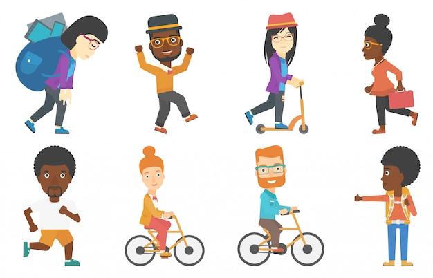 Conjunto de turistas de negocios y personajes del deporte.