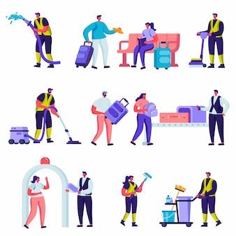 Conjunto de turistas planas y personal de servicio de limpieza en los personajes del aeropuerto