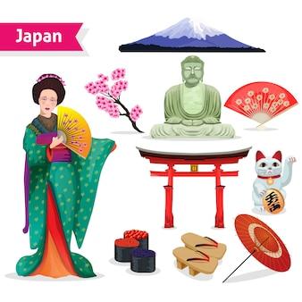 Conjunto turístico de japón