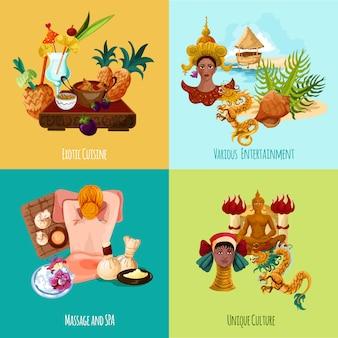 Conjunto turístico de tailandia