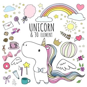 Conjunto de unicornio y 30 elementos en estilo doodle.