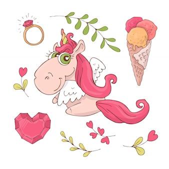 Conjunto de unicornio de dibujos animados lindo para el día de san valentín s