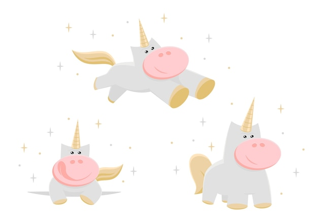 Conjunto de unicornios, estilo de dibujos animados.
