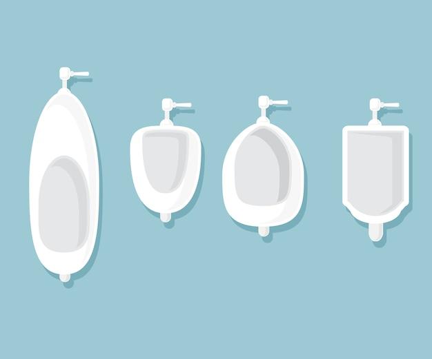 Conjunto de urinarios en la ilustración de vector de baño