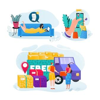 Conjunto de uso de la tienda en línea, la gente compra la ilustración del concepto en línea. entrega de la tienda, fondo moderno del servicio minorista. compra de orden de personaje de mujer, compras en línea.