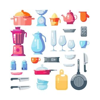 Conjunto de utensilios de cocina aislado en blanco