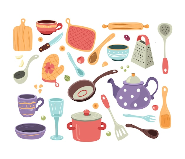 Conjunto de utensilios de cocina de bosquejo doodle dibujados a mano