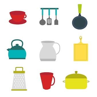 Conjunto de utensilios de cocina de clipart plano
