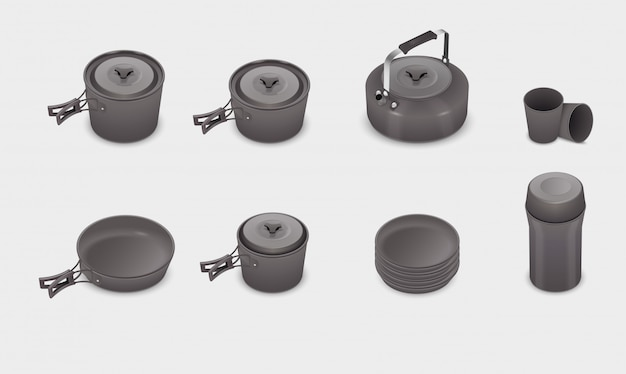 Conjunto de utensilios de cocina de cocina realista vector
