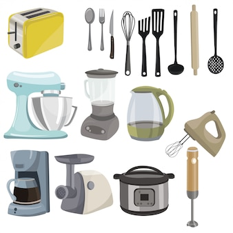 Conjunto de utensilios de cocina. colección de electrodomésticos para la cocina. herramientas culinarias.