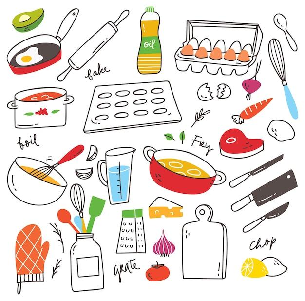 Conjunto de utensilios de cocina doodle
