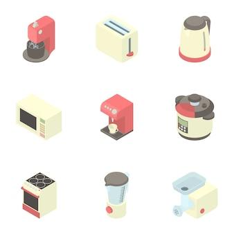 Conjunto de utensilios de cocina, estilo de dibujos animados