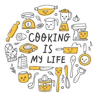 Conjunto de utensilios de cocina en estilo kawaii doodle