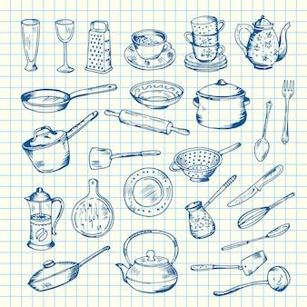 Conjunto de utensilios de cocina en la ilustración de la hoja celular. cuchillo y cuchara, tenedor y espátula.