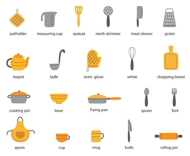 Conjunto de utensilios de cocina con nombre en inglés. colección de ilustraciones.