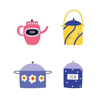 Conjunto de utensilios de cocina y vajilla en estilo de dibujos animados