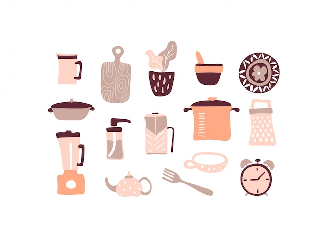 Conjunto de utensilios de cocina de vector. colección de utensilios de cocina. un montón de utensilios de cocina.