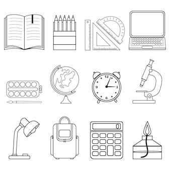 Conjunto de útiles escolares contorno negro