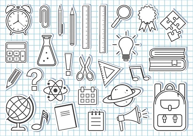 Conjunto de útiles escolares. diseño de contorno blanco y negro. ilustración