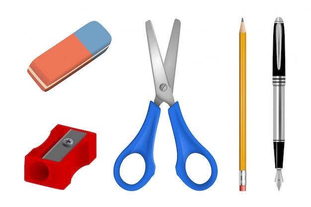 Conjunto de útiles escolares y de oficina. ilustración realista de accesorios escolares y de oficina.
