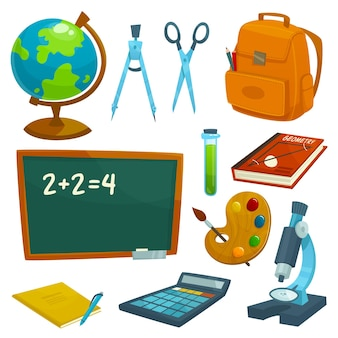 Conjunto de útiles escolares. pizarra, globo, tiza, mochila, libro, libro de texto, bolígrafo, calculadora, microscopio tijeras divisores probeta paleta de acuarela lecciones elementos de vector de papelería