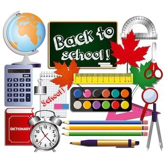 Conjunto de útiles materiales escolares
