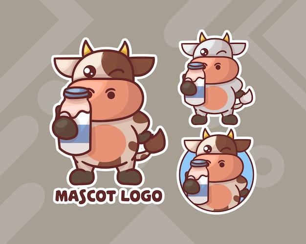 Conjunto de vaca linda con logotipo de mascota de leche con apariencia opcional.