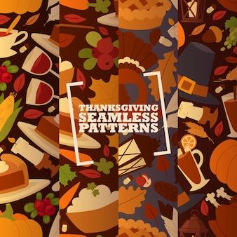Conjunto de vacaciones de acción de gracias de patrones sin fisuras con la tradicional ilustración de vector de pastel de pavo y fruta, calabaza, manzanas y setas.