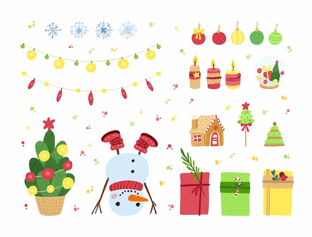 Conjunto de vacaciones de año nuevo y navidad. abeto decorado, juguetes de cristal, guirnaldas, cajas de regalo, regalos