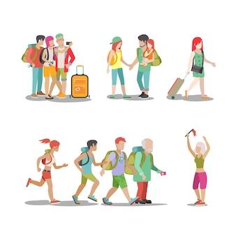 Conjunto de vacaciones familiares. los niños de la mujer del hombre que van a divertirse interesantes vacaciones ilustración colección de estilo de vida de turismo itinerante.