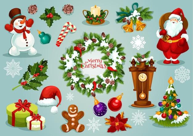 Conjunto de vacaciones de navidad santa claus con regalo, árbol de navidad con bola y luces, baya de acebo, copo de nieve, corona de abeto, dulces, hombre de jengibre, muñeco de nieve, vela, campana, reloj con pino, flor de nochebuena