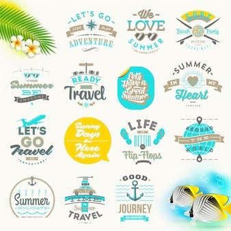 Conjunto de vacaciones de verano y diseño de tipo de viaje