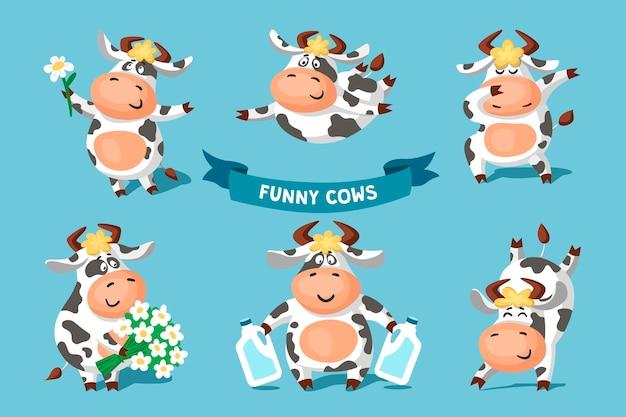 Conjunto de vacas blancas y negras manchadas divertidas lindas en diferentes poses.