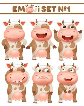 Conjunto de vacas con manchas marrones, carácter de animal de granja en varias poses ilustraciones vectoriales