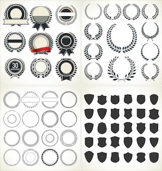 Conjunto de vacíos retro vintage marcos laureles insignias y sellos