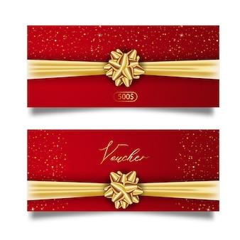 Conjunto de vale de regalo con estilo con cinta dorada y lazo. plantilla elegante para tarjeta de regalo, cupón y certificado aislado del fondo.