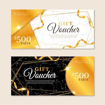 Conjunto de vales regalo dorados